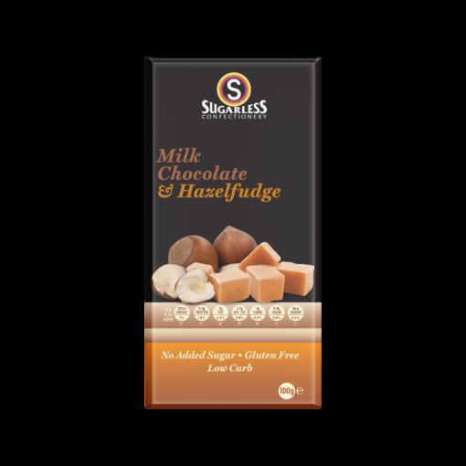 Milk Chocolate & Hazelfudge Sugarless Block 100g 1