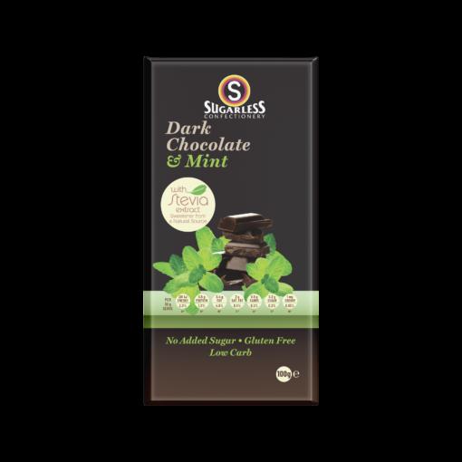 Dark Chocolate & Mint Sugarless Block 100g 1