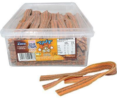TNT Sour Straps CHOC-ORANGE 200 x 6 1.4kg 1